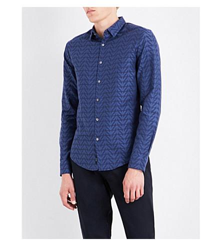 ARMANI JEANS Eagle-print slim-fit cotton shirt (Blue