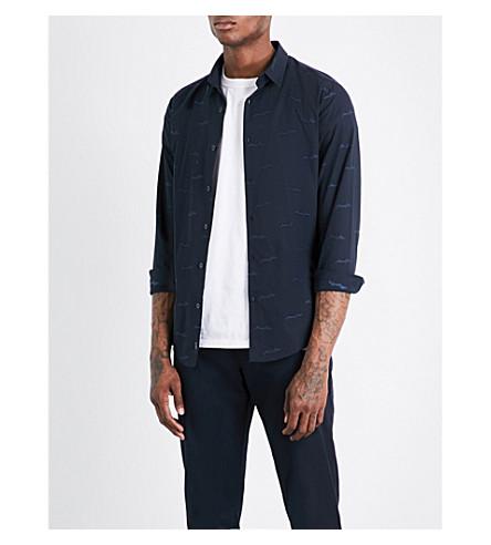 ARMANI JEANS Script-patterned slim-fit cotton shirt (Navy