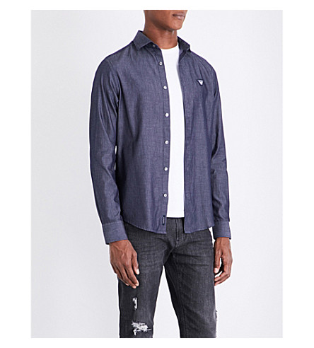 ARMANI JEANS Eagle-embroidered custom-fit cotton shirt (Navy