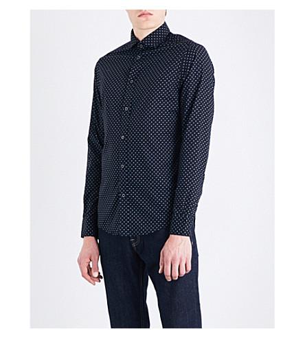ARMANI JEANS Eagle-print slim-fit stretch-cotton shirt (Black