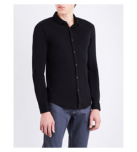 ARMANI JEANS Regular-fit cotton-jersey shirt (Black
