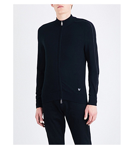 ARMANI JEANS Ribbed-detail knitted cardigan (Black