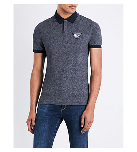 ARMANI JEANS Eagle-patch cotton-blend piqué polo shirt (Navy