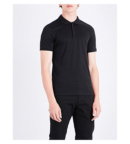 ARMANI JEANS Zip-up cotton polo shirt (Black