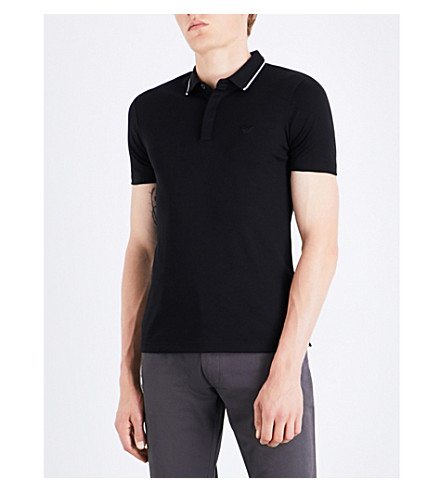 ARMANI JEANS Contrast-trim cotton polo shirt (Black