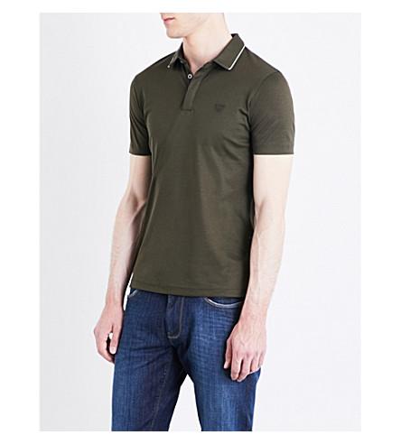 ARMANI JEANS Contrast-tip cotton polo shirt (Khaki