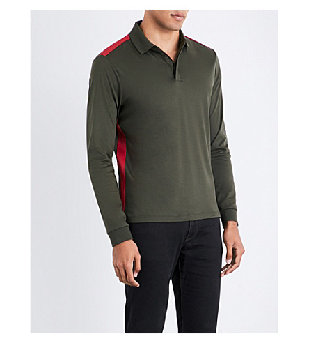 ARMANI JEANS Contrast-stripe cotton polo sweatshirt (Khaki