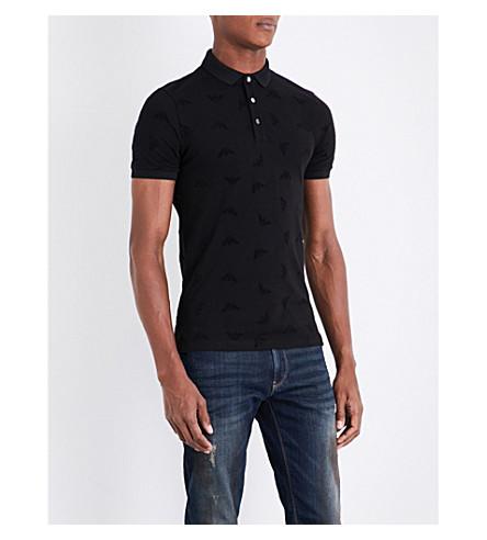 ARMANI JEANS Eagle-flocked stretch-cotton piqué polo shirt (Black