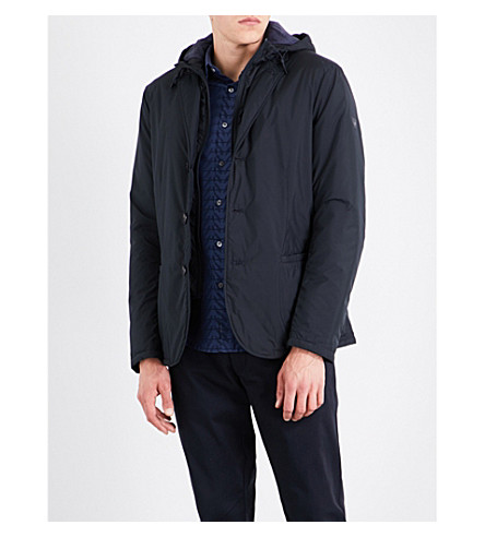 ARMANI JEANS Detachable-hood shell jacket (Navy