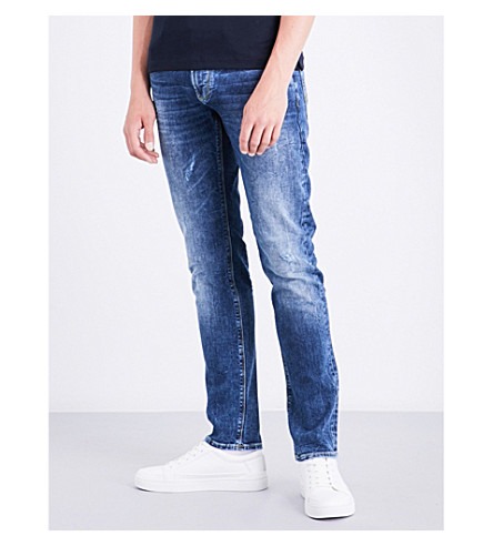ARMANI JEANS J06 slim-fit tapered jeans (Mid+wash