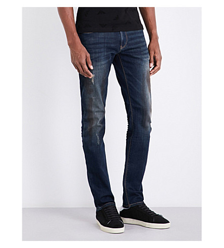 ARMANI JEANS J06 slim-fit straight mid-rise jeans (Blue