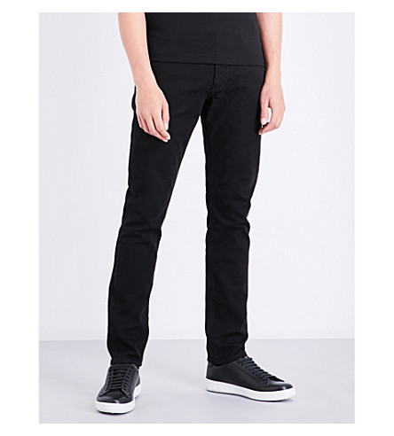 ARMANI JEANS J06 slim-fit straight-leg jeans (Black