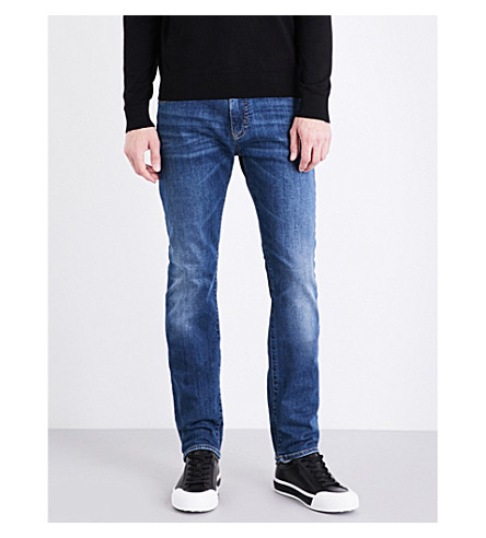 ARMANI JEANS Washed slim-fit tapered jeans (Light+wash