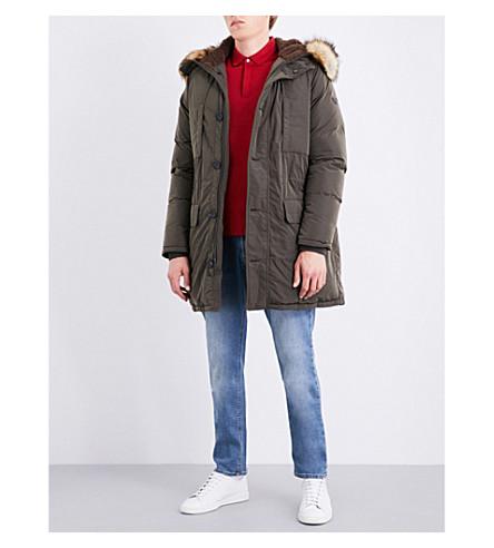 ARMANI JEANS Faux-fur trim shell-down parka coat (Khaki