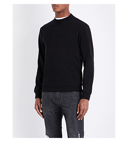 ARMANI JEANS Logo-embroidered cotton sweatshirt (Black