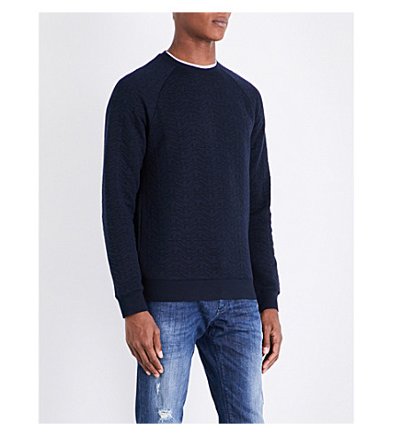 ARMANI JEANS Eagle-embossed cotton-blend sweatshirt (Navy