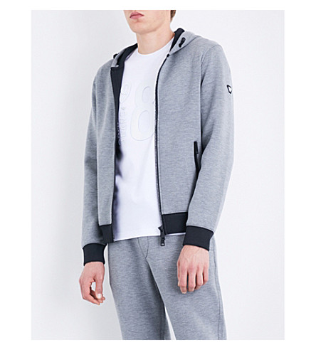 ARMANI JEANS Colour-block neoprene hoody (Grey