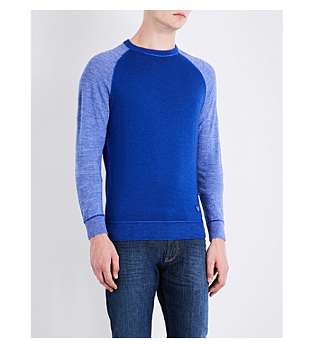ARMANI JEANS Raglan-sleeve wool jumper (Blue