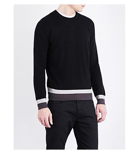 ARMANI JEANS Striped-hem knitted jumper (Black