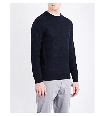 ARMANI JEANS Striped wool-blend jumper (Navy