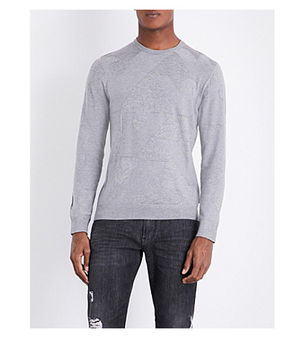 ARMANI JEANS Eagle intarsia knitted jumper (Grey
