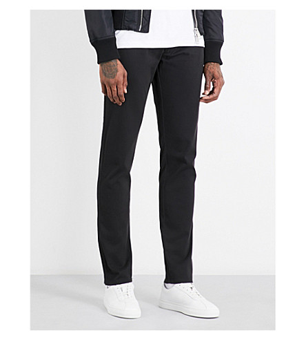 ARMANI JEANS Regular-fit tapered stretch-cotton chinos (Black