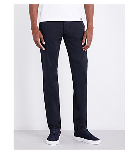 ARMANI JEANS Regular-fit tapered stretch-cotton chinos (Navy