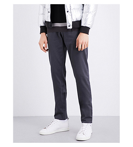 ARMANI JEANS Slim-fit tapered stretch-cotton chinos (Grey