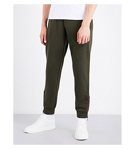 ARMANI JEANS Flocked cotton-jersey jogging bottoms (Khaki