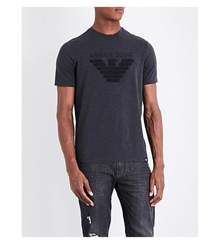 ARMANI JEANS Eagle-flocked stretch-cotton T-shirt (Grey