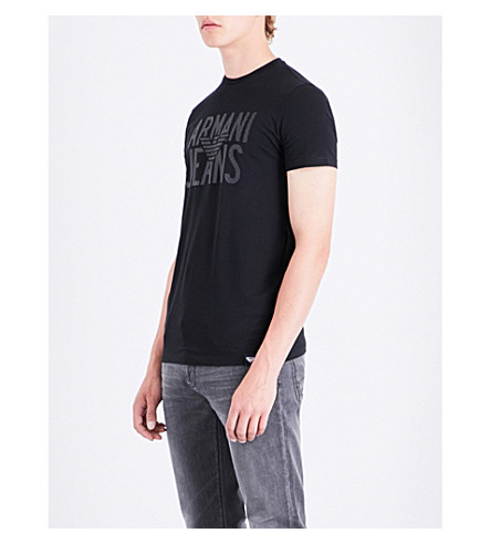 ARMANI JEANS Rubberised logo-print stretch-cotton T-shirt (Black