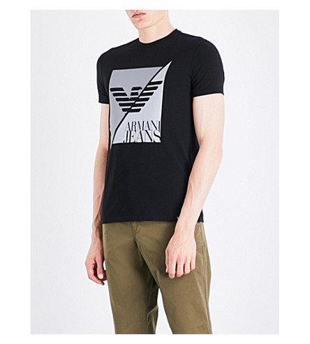 ARMANI JEANS Split Eagle stretch-cotton T-shirt (Black