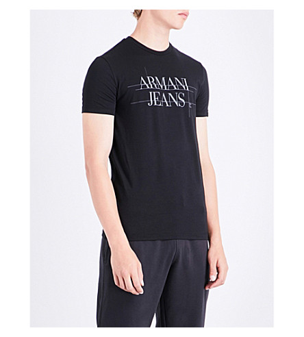 ARMANI JEANS Eagle-print stretch-cotton T-shirt (Black