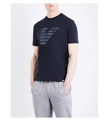 ARMANI JEANS Half Eagle glitter cotton T-shirt (Navy