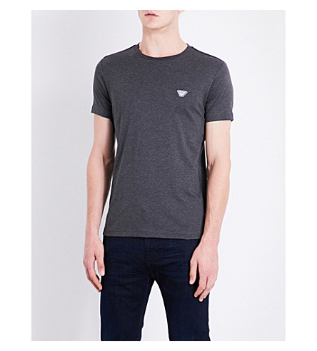 ARMANI JEANS Eagle-patch cotton-jersey T-shirt (Grey