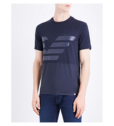 ARMANI JEANS Logo-print cotton-jersey and shell T-shirt (Navy