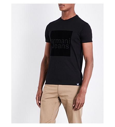 ARMANI JEANS Box cotton T-shirt (Black