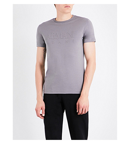 ARMANI JEANS Branded cotton T-shirt (Grey