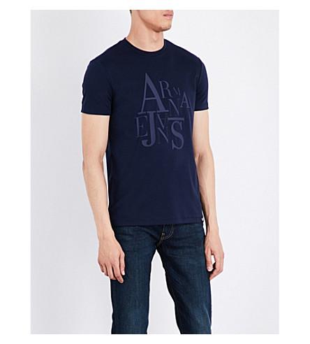 ARMANI JEANS Rubberised logo-print cotton-jersey T-shirt (Navy