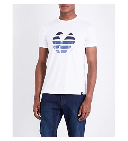 ARMANI JEANS Eagle-print circle cotton-jersey T-shirt (White