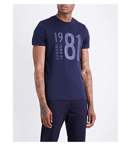 ARMANI JEANS Logo-print cotton-jersey T-shirt (Blue