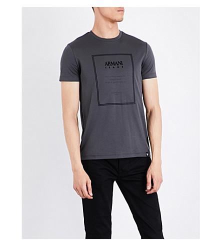 ARMANI JEANS Est 1981 cotton-jersey T-shirt (Grey