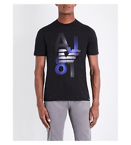 ARMANI JEANS Eagle 81 cotton-jersey T-shirt (Black