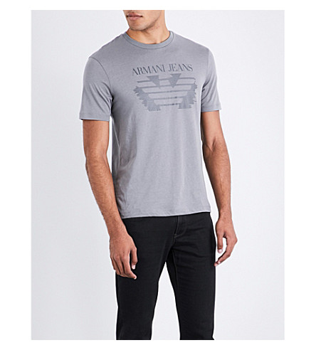 ARMANI JEANS Eagle-print cotton T-shirt (Grey