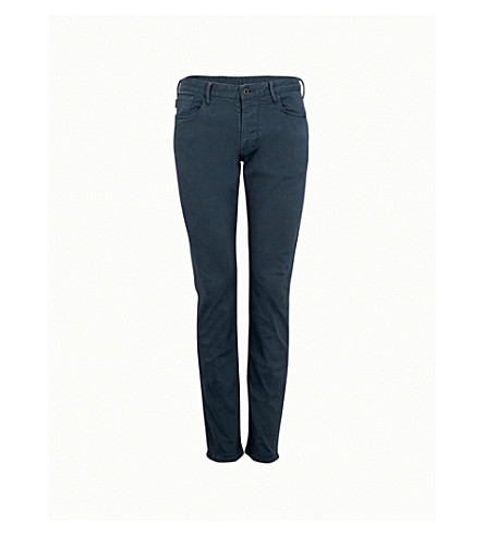 EMPORIO ARMANI Regular-fit straight cotton-twill jeans (Fog blue