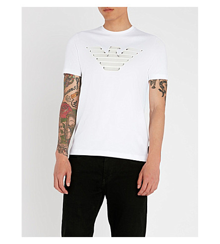 con EMPORIO punto algodón con de jersey color ARMANI en blanco detalles Camiseta wgBxrSw