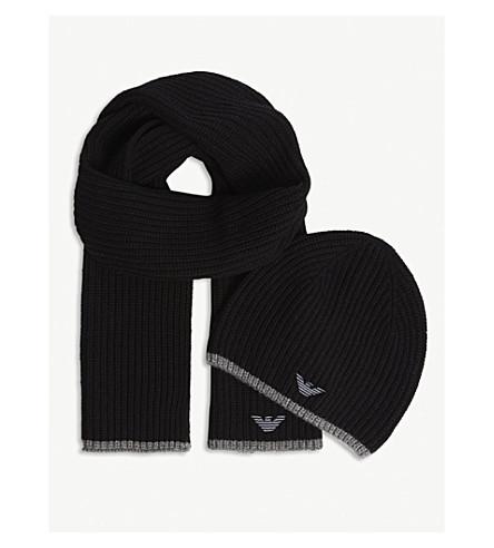 EMPORIO ARMANI 老鹰标志罗纹针织帽子和围巾套装 (黑色