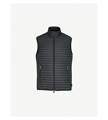 EMPORIO ARMANI Funnel-collar padded shell and down-blend gilet (Black