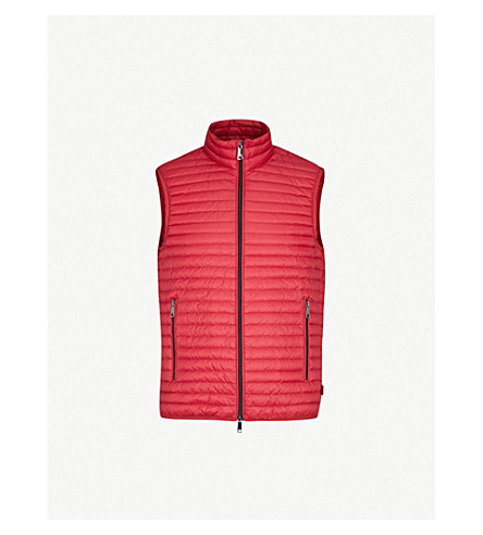 EMPORIO ARMANI Funnel-collar padded shell and down-blend vest (Red