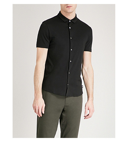 EMPORIO ARMANI Slim-fit cotton-jersey shirt (Black